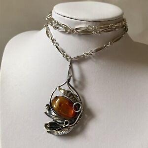 Vintage Polish Baltic Amber Art Nouveau Silver Mount & Bar & Chain Link Necklace