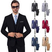 US 2PCS Men Blazer Suit Slim Fit Tuxedo Coat Pants Trousers Formal Wedding Groom