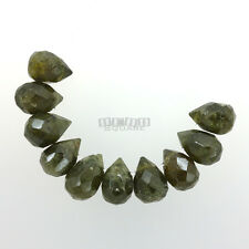 10 PC Green Garnet Faceted Teardrop Briolette Beads ap. 8 x 10mm - 12mm #19440