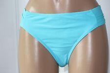 NEW Island Escape Aqua Blu Solid Shirred Tab Side Hipster Swim Bikini Bottom 10