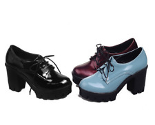 Womens Patent Leather Platform Heels Oxfords Pumps Lace Up Shoes Size Retro New^