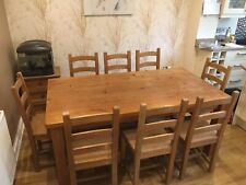 Chunky Solid Pine Farmhouse Dining Table 8 Chairs