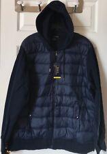 $198 NWT Mens Polo Ralph Lauren Paneled Down Performance Hoodie Jacket Navy