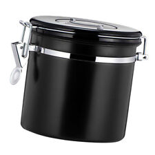 Coffee Canister Airtight Seal Stainless Kitchen Storage Container Black
