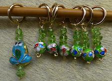 Stitch marker, knitting 6+1,  cloisonne and peridot beads