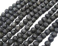 30 Lava Perlen 6mm Schwarz Kugeln Edelstein für Schmuck Kette Armband AZL1