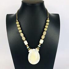 Gold Tone Cream Shell Pendant Chunky Beaded Statement Necklace Costume Boho