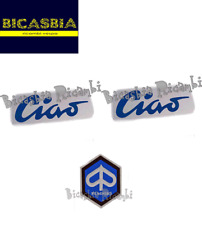 11438 - TARGHETTA LATERALE CIAO BLU X 2 + SCUDETTO PIAGGIO 50 CIAO C7 C9