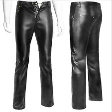 Sexy Imitation Leather Man Male Leather Zipper Costumes Tight Long Pants