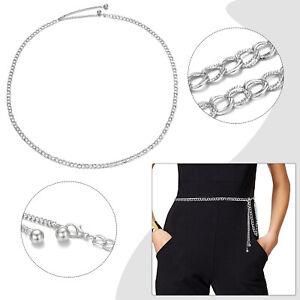 Womens Silver Waist Chain Belt Adjustable Metal Waistband Retro Charm Jewelry