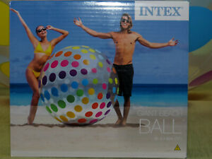 "Inflatable giant beach ball 72"" by Intex #58097NP (polka dot design)"