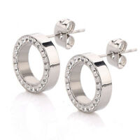 Women Stainless Steel Silver Circle Shining Rhinestone Ear Stud Earrings Jewelry