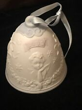 2000 Lladro Porcelain Christmas Bell With Angels Ornament - Mint Condition