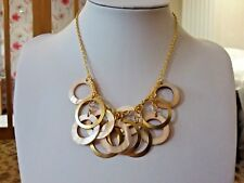 Brand new gold  necklace with gold and shell ring droplets in a gift box