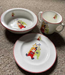 Teletubbies - Ceramic - 3 Piece Dinner Set - USED - Some Markings
