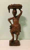 """16-1/2"""" Tall Hand Carved Figurine of a Woman Carrying Head Luggage"""