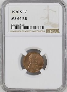 1930-S 1C RB Lincoln Wheat One Cent  NGC MS66RB                  6073522-001