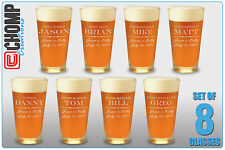 Set of 8 Personalized Custom Engraved Pint Glasses, Groomsman, Best Man Gifts