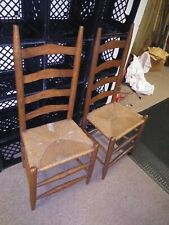 Antique Shaker Style Ladder Back Dining Chairs Rush Woven Seat(2)