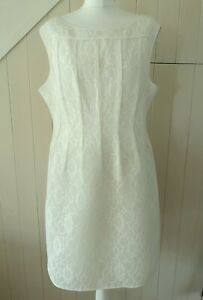 PHASE EIGHT ALENCON FRENCH CORDONNET LACE SEAM DETAIL PALE IVORY DRESS 18 46 NEW