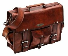 Men's Leather Brown Genuine Vintage Messenger Shoulder Laptop Handmade Bag