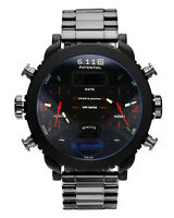 Mens Watch Quartz Digital Black Dial Stainless Steel Case Analog Multifunction