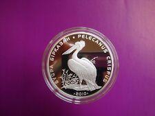 Kazakhstan 500 tenge PELICAN 2010 Proof  silver 1 oz  Red List fauna bird animal
