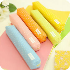 Candy Color Pencil Case Dot  Pen Bag Stationery  Pouch Office School Supplies JB