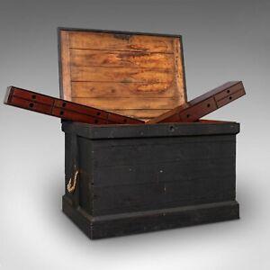Antique Master Craftsman's Chest, English, Pine, Mahogany, Tool Trunk, Victorian