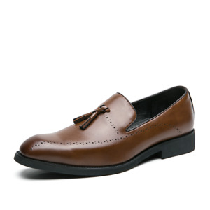 Mens Leather Slip On Casual Mocassin Loafer Driving Shoe Size Brown[UK 8 9 10]