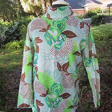 Vintage 60s MOD SASSY Retro Garden Print Top zip back top turtleneck Medium/Larg