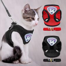 Escape Proof Cat Walking Harness and Leash Mesh Vest Reflective for Pet Kitten