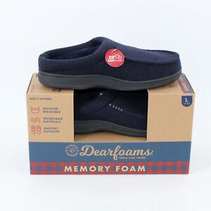 Dearfoams Men's Slippers Size Large L 11-12 Memory Foam Navy Blue Slip-On