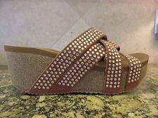 VOLATILE Excess Women's Leather Rhinestone Wedge Cork Rhinestone Sandals Size 9