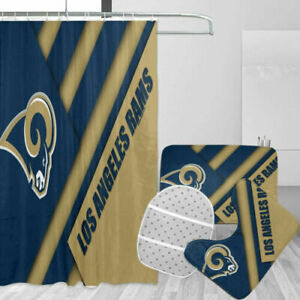 Los Angeles Rams Bathroom Set Shower Curtain Toilet Lid Cover Non-Slip Mats