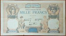 Billet de 1000 francs CÉRÈS et MERCURE 3 novembre 1938 FRANCE T.5292
