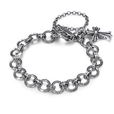 S925 PURE SILVER PERSONALITY STYLISH RETRO CROSS LETTER RING BRACELET WOMAN