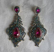 Betsey Johnson earrings, peacock feather,pink stone center,small blue stones