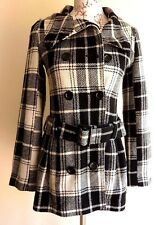 Tammy Girls Double Breast White Black Check Trench Coat Jacket Size UK SS/10