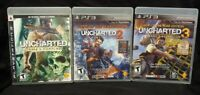 Uncharted 1 2 3 Trilogy Drake Sony PlayStation 3 PS3 Game Lot Works Tested
