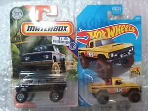 Hot Wheels & Matchbox - 2 tough Dodge pickups - 1968 D200 and 1970 Power Wagon