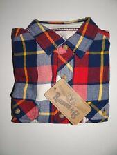 Roebuck & Co Men's 100% Cotton Red Multi Plaid Long Sleeve Shirt Sz M