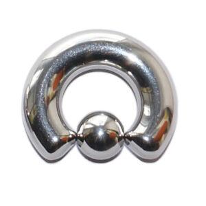 HEAVY LARGE GAUGE BCR BALL CLOSURE RING EAR PA PRINCE ALBERT 8MM 10MM 0G 00G