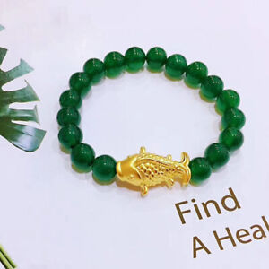 Pure 24K Yellow Gold Lovely Fish with Natural Green Agate Bead Lucky Bracelet