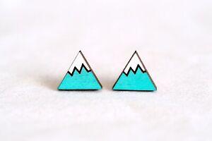 Mt Fuji Snow Mountain Earrings Studs - Wooden Mini Hand-Painted Earrings