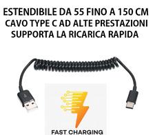 CAVO USB TYPE C IPHONE ELASTICO MOLLA ESTENSIBILE 150 CM RICARICA RAPIDA AUTO