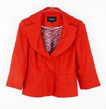 Ladies Debenhams Petite Collection 100% Linen Jacket Red 3/4 sleeve Summer UK 6