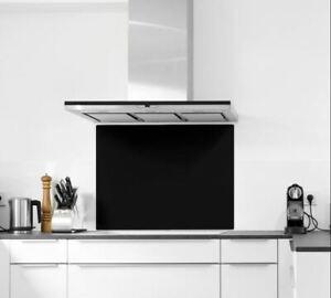 Designer Black Colour Toughened Glass Heat Resistant Kitchen Splashback