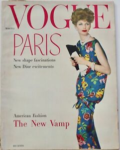 1958 Paris Collections VOGUE 50s YSL at Dior 50s couture fashion tailoring gowns