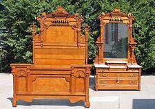 Phenomenal Aesthetic Victorian Burl Walnut 2 piece Bedroom Set Suite Circa 1875
